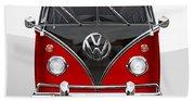 Volkswagen Type 2 - Red And Black Volkswagen T 1 Samba Bus On White  Beach Towel