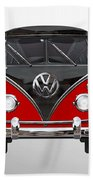 Volkswagen Type 2 - Red And Black Volkswagen T 1 Samba Bus On White  Beach Towel by Serge Averbukh