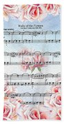 Waltz Of The Flowers Pink Roses Beach Towel