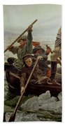 Washington Crossing The Delaware River Beach Towel by Emanuel Gottlieb Leutze