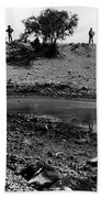 Water Hole Dead Cattle Cowboys  Drought Tohono O'odham Indian Reservation Near Sells Az 1969 Beach Sheet
