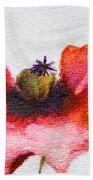 Watercolor Poppy Flower Beach Towel