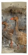 Watercolour Painting Of Beautiful Greylag Goose Anser Anser In W Beach Towel