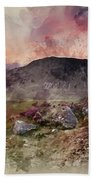 Watercolour Painting Of Stunning Summer Dawn Over Mountain Range Beach Towel