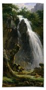 Waterfall At Mont-dore Beach Towel