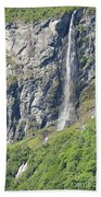 Waterfall In Geiranger Norway Beach Towel