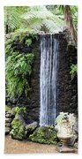 waterfall in tripcal garden Monte Madeira Beach Towel