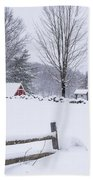 Wayside Inn Grist Mill Covered In Snow Storm Beach Towel