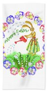 Welcome Spring.rabbit And Flowers Beach Towel