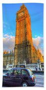 Westminster Bridge And Taxi Beach Towel