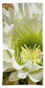 White Cactus Flower Beach Towel