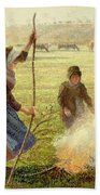 White Frost Beach Towel by Camille Pissarro