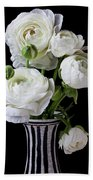 White Ranunculus In Black And White Vase Beach Towel