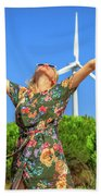 Wind Turbines Woman Beach Towel