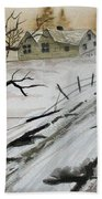 Winter Farmhouse Beach Towel