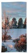 Winter Sunset In Weyburn Beach Towel