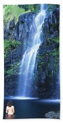 Woman At Waterfall Beach Towel