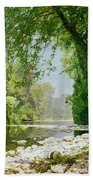 Wooded Riverscape Beach Towel by Leopold Rolhaug