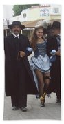 Wyatt Earp  Doc Holiday Escort  Woman  With O.k. Corral In  Background 2004 Beach Towel