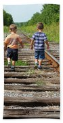 Young Boys On Railway Tracks Beach Towel