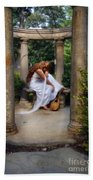 Young Woman As A Classical Woman Of Ancient Egypt Rome Or Greece Beach Towel