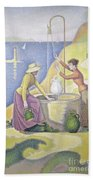 Young Women Of Provence At The Well, 1892 Beach Towel