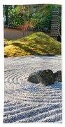 Zen Garden At A Sunny Morning Beach Towel