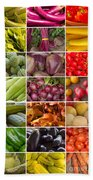 Fruit And Vegetable Collage Beach Towel