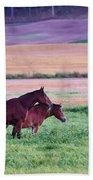Horses Of The Fall Beach Towel