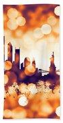 New York Skyline Beach Towel by Michael Tompsett