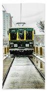 Streetcar Waiting For Passengers In Snowstrom In Uptown Charlott Beach Towel