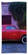 Vintage Car In Colonia Del Sacramento, Uruguay Beach Towel