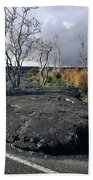100925 Lava Flow On Road Hi Beach Towel