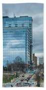 Atlanta Downtown Skyline Scenes In January On Cloudy Day Beach Towel