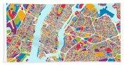 New York City Street Map Beach Towel