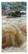 River Water Flowing Through Rocks At Dawn Beach Towel
