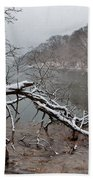 The Bass River In Winter Beach Towel