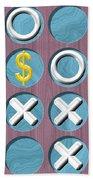Tic Tac Toe Wooden Board Generated Seamless Texture Beach Towel
