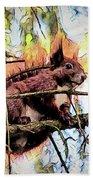 11451 Red Squirrel Sketch Beach Towel