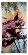 11452 Red Squirrel Sketch Square Beach Towel
