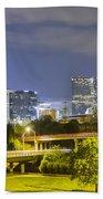 Downtown Of Charlotte  North Carolina Skyline Beach Towel
