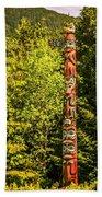 Totems Art And Carvings At Saxman Village In Ketchikan Alaska Beach Towel