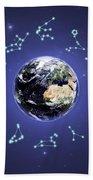 12 Zodiac Constellations Beach Towel