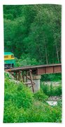 Scenic Train From Skagway To White Pass Alaska Beach Towel