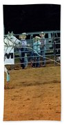 Steer Roping Beach Towel