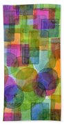 Befriended Squares And Bubbles Beach Towel