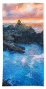 Landscape Oil Painting Nature Beach Towel