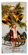 American Christmas Card Beach Towel