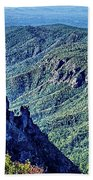 Hawksbill Mountain At Linville Gorge With Table Rock Mountain La Beach Towel