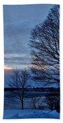 Sunset Over Obear Park In Snow Beach Towel